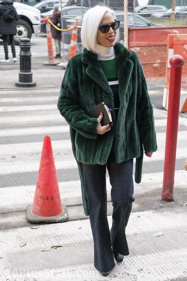 Linda Fargo wearing a green jacket   40plusstyle.com