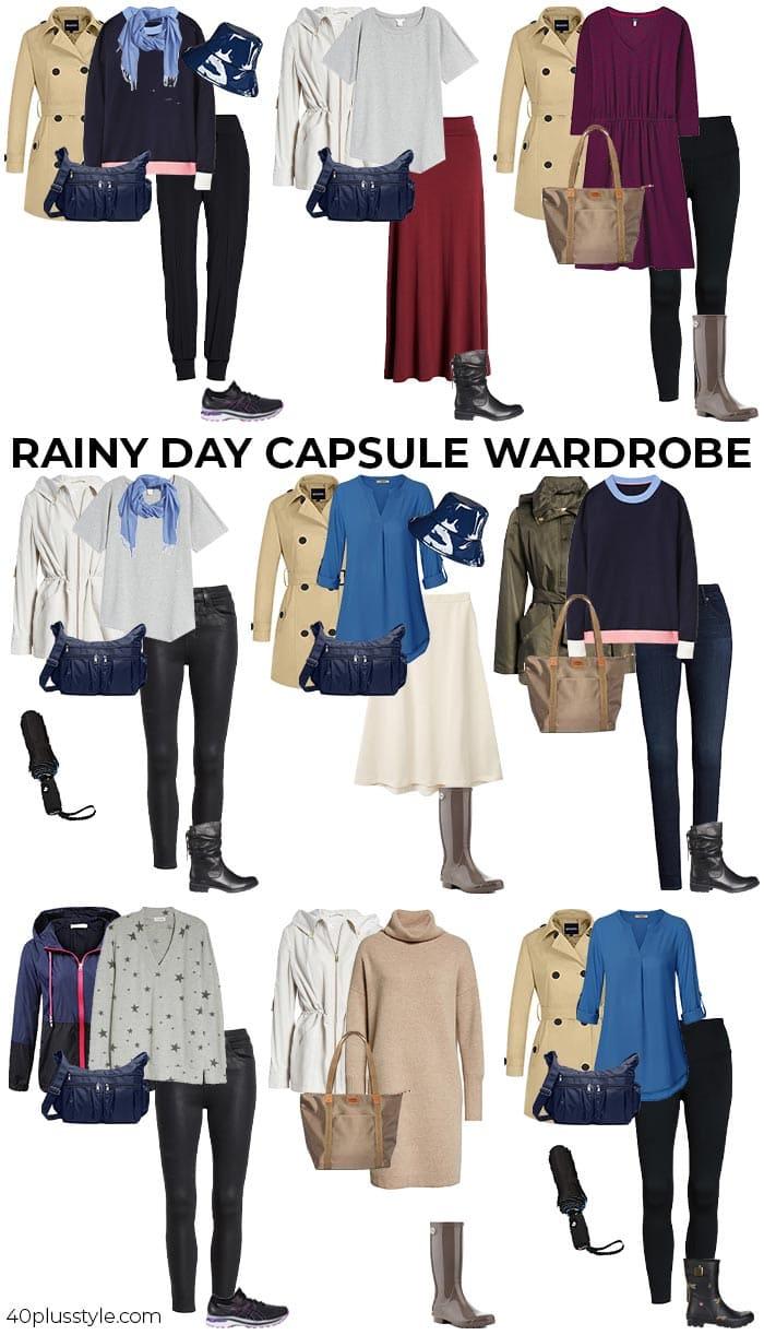 rainy day capsule wardrobe | 40plusstyle.com