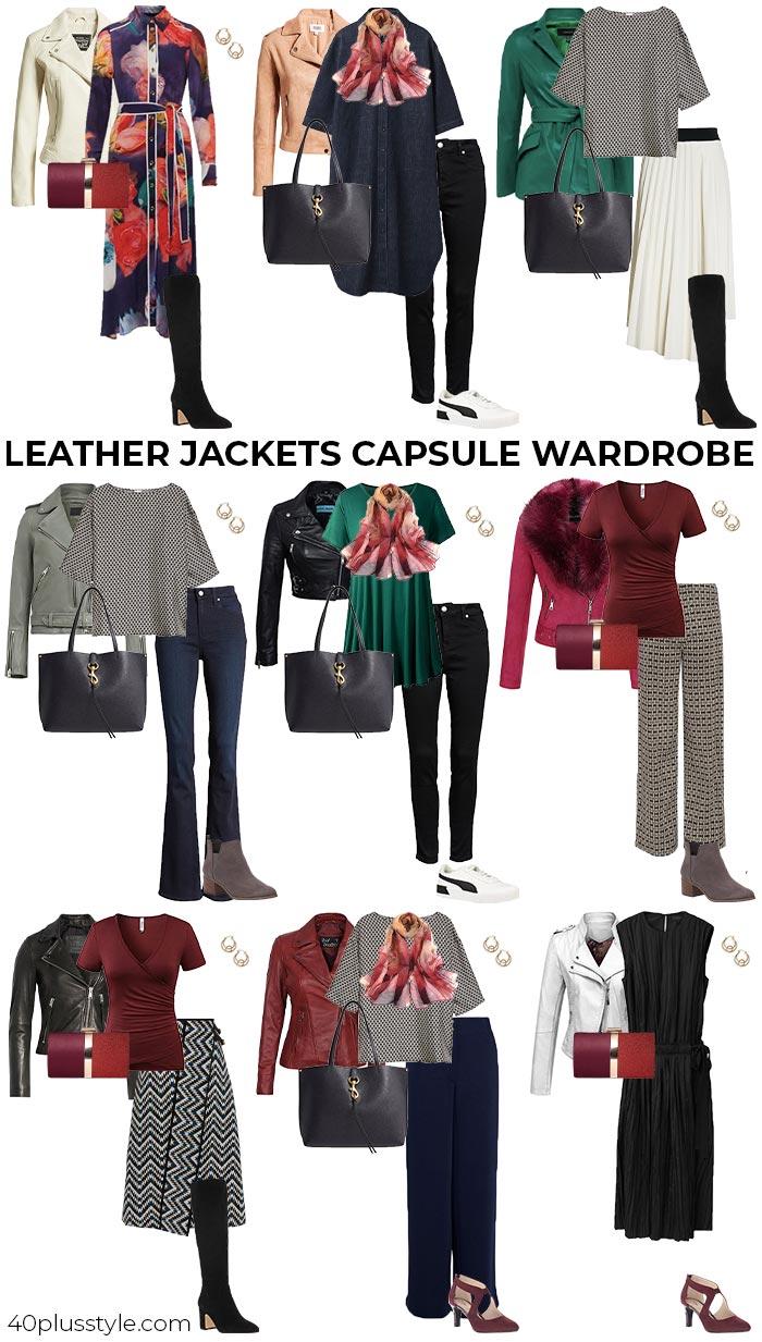 leather jackets capsule wardrobe | 40plusstyle.com