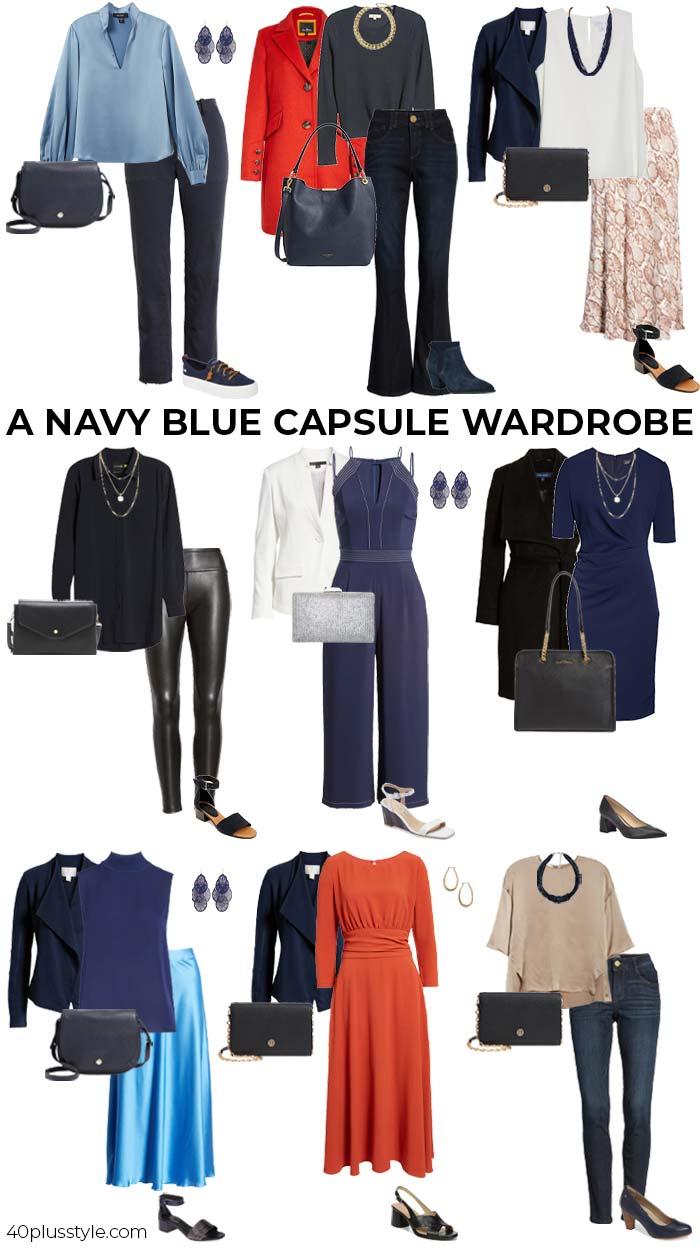 A navy capsule wardrobe | 40plusstyle.com