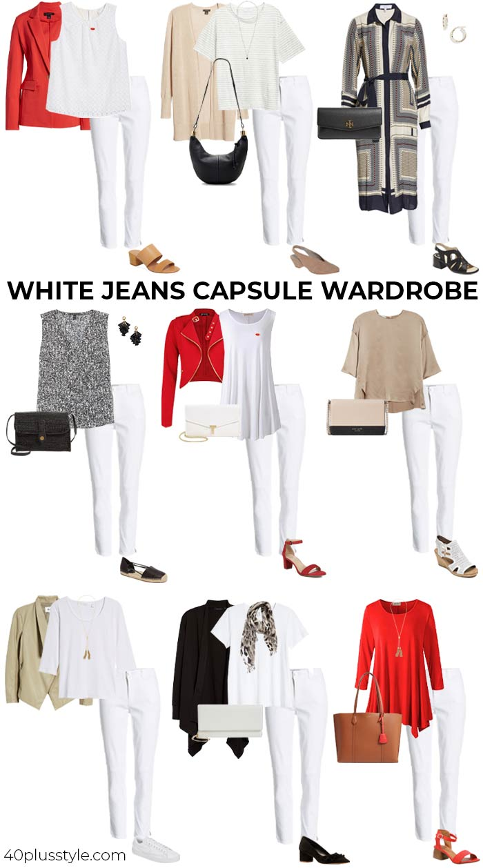 White jeans capsule wardrobe | 40plusstyle.com