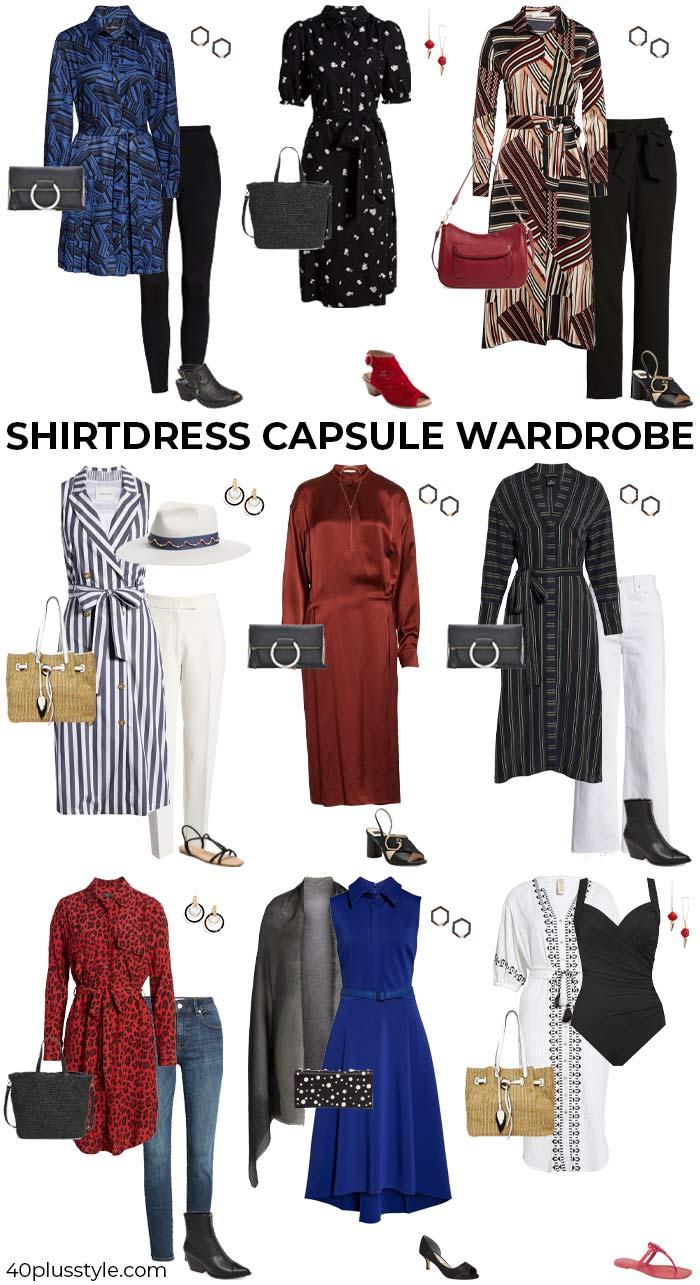 A shirtdress capsule wardrobe | 40plusstyle.com