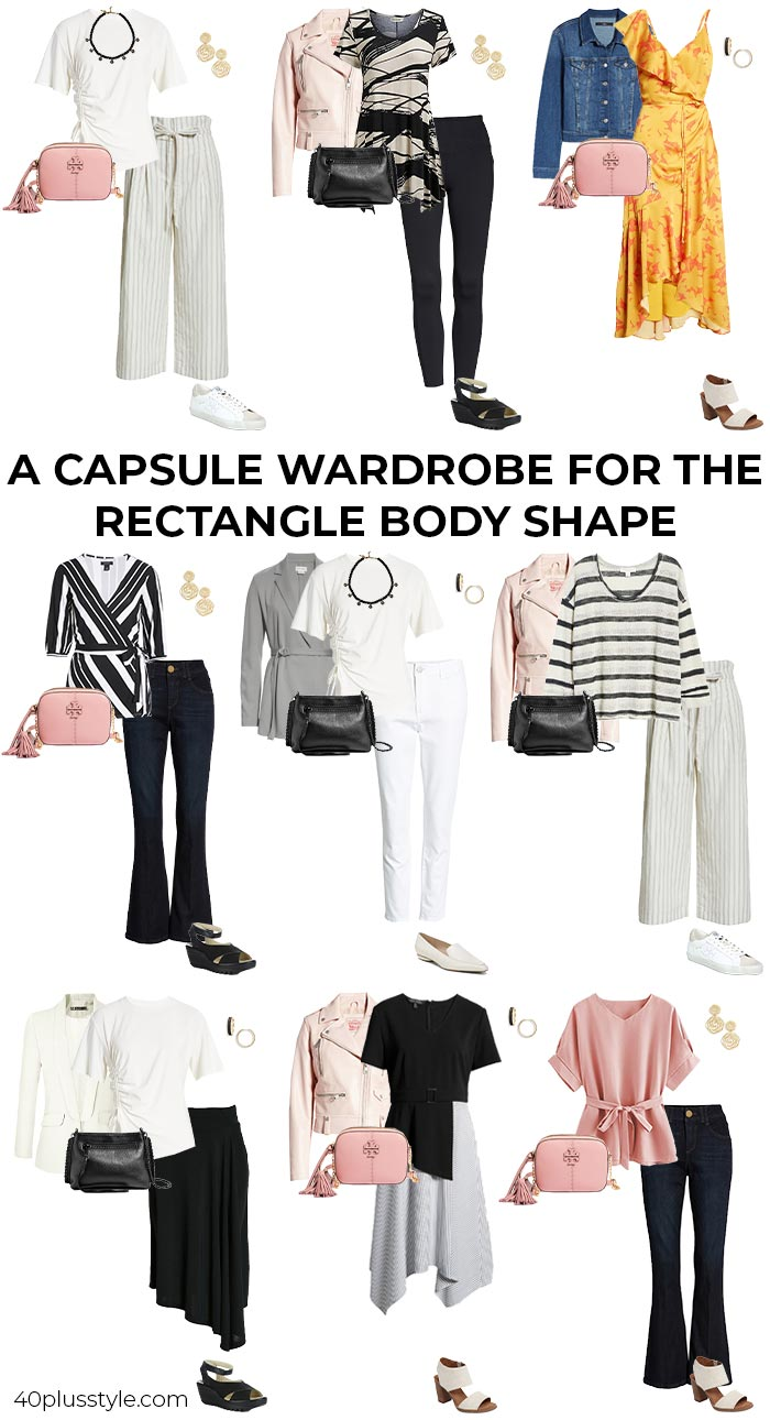 A capsule wardrobe for the rectangle body shape | 40plusstyle.com