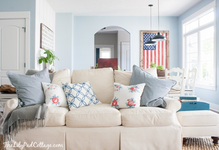 Red white and blue cottage decor
