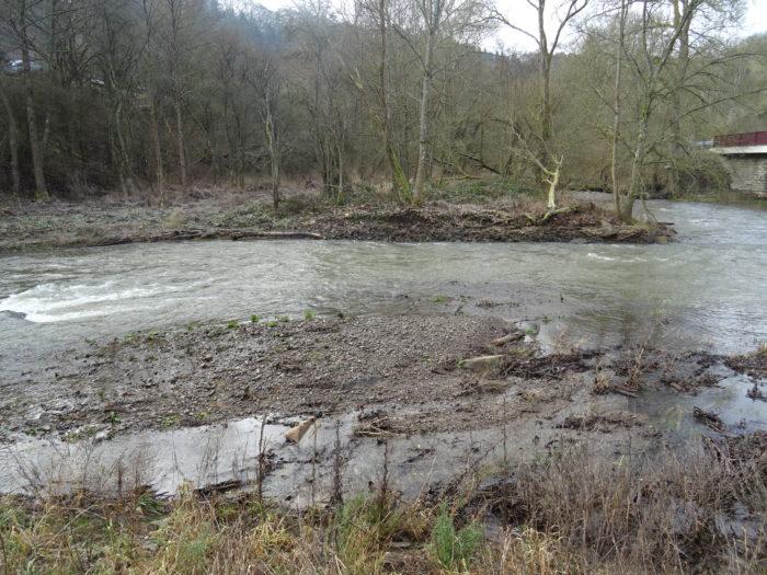 Trierbachmündung bei Hochwasser.