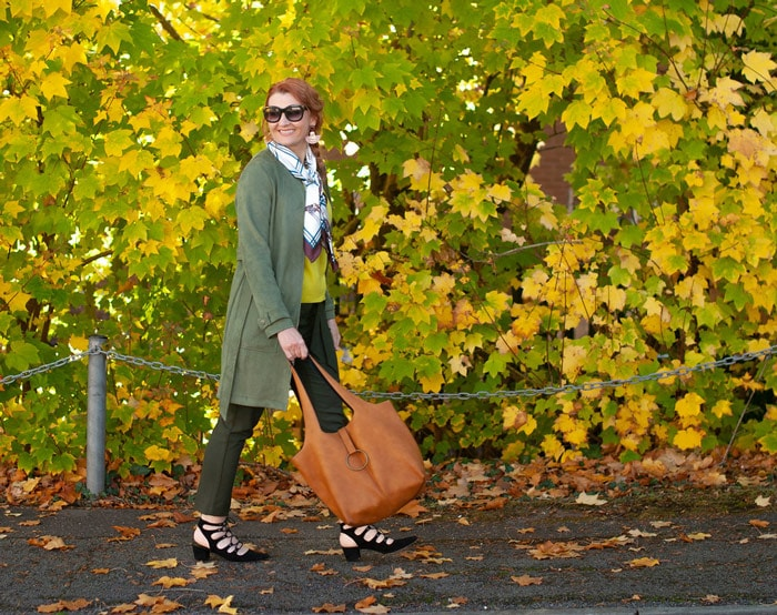 Catherine wearing jungle green coat and scarf   40plusstyle.com