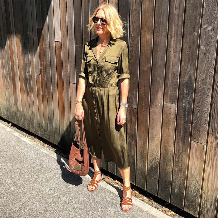 Satin shirt midi dress for women over 40 | 40plusstyle.com