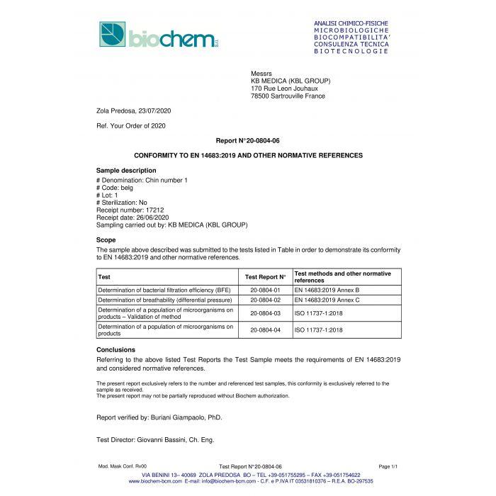 Rapport de conformité du laboratoire biochem