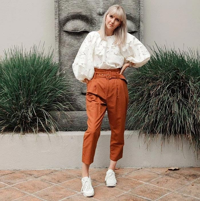 Melissa wears paperbag waist pants with an on-trend top   40plusstyle.com