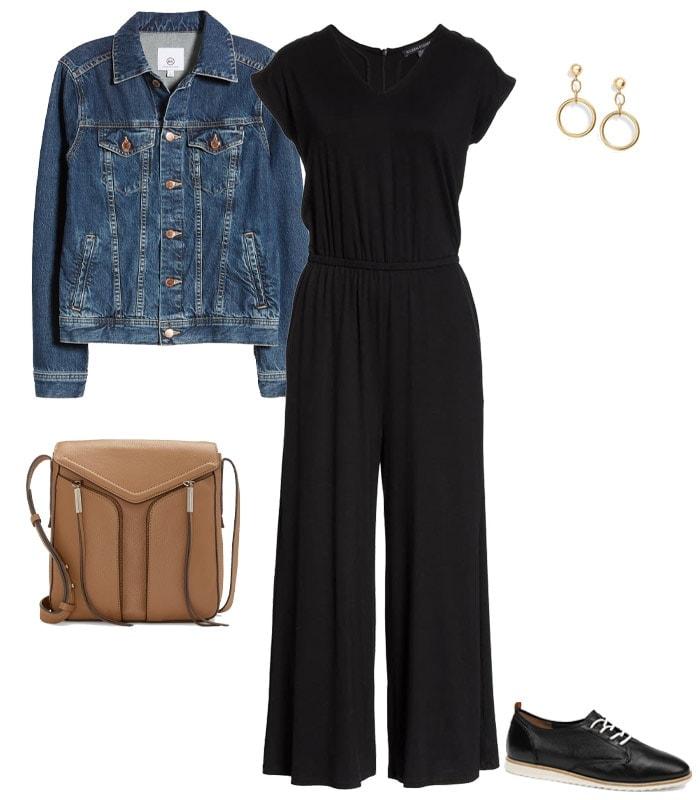 Concert outfits idea - a denim jacket & jumpsuit | 40plusstyle.com