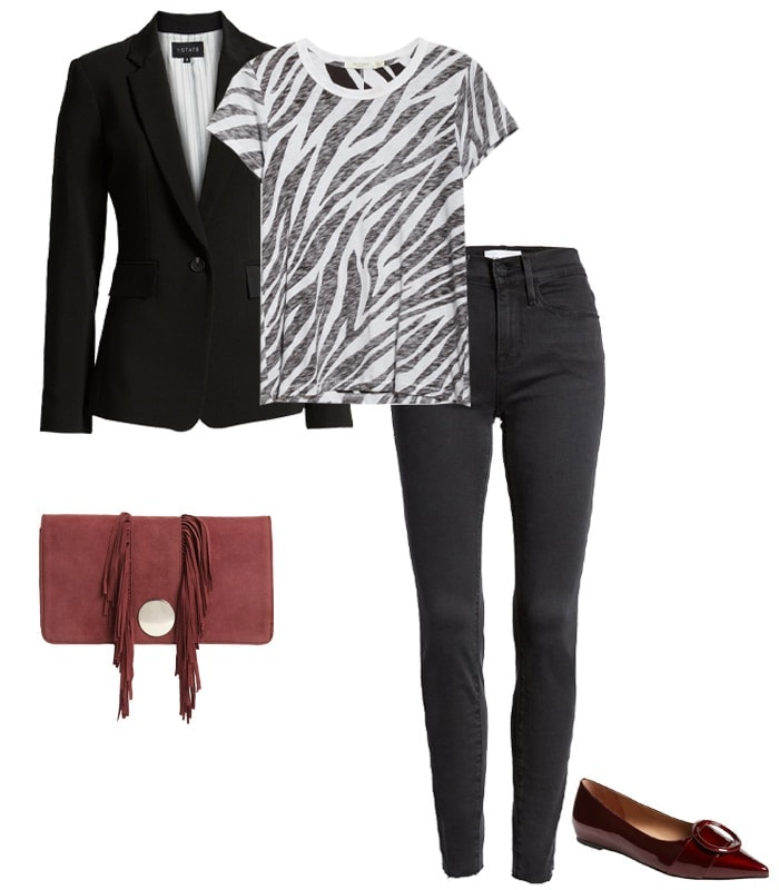 What to wear to a concert - a blazer & jeans | 40plusstyle.com