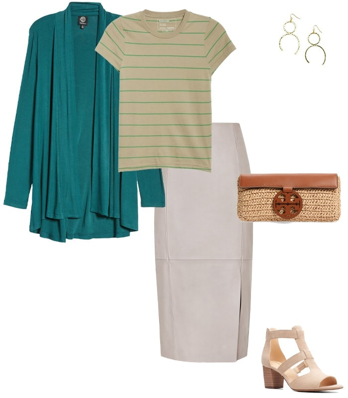 choose a neutral leather skirt | 40plusstyle.com