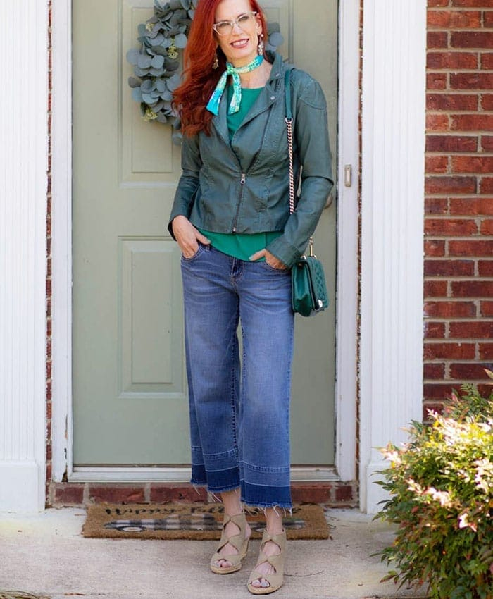 best leather jackets for women - Jess wears her moto jacket with jeans | 40plusstyle.com