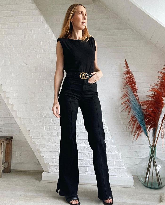 Marie-Louise wears wide black jeans | 40plusstyle.com