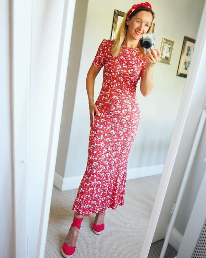 red floral midi dress with espadrilles | 40plusstyle.com