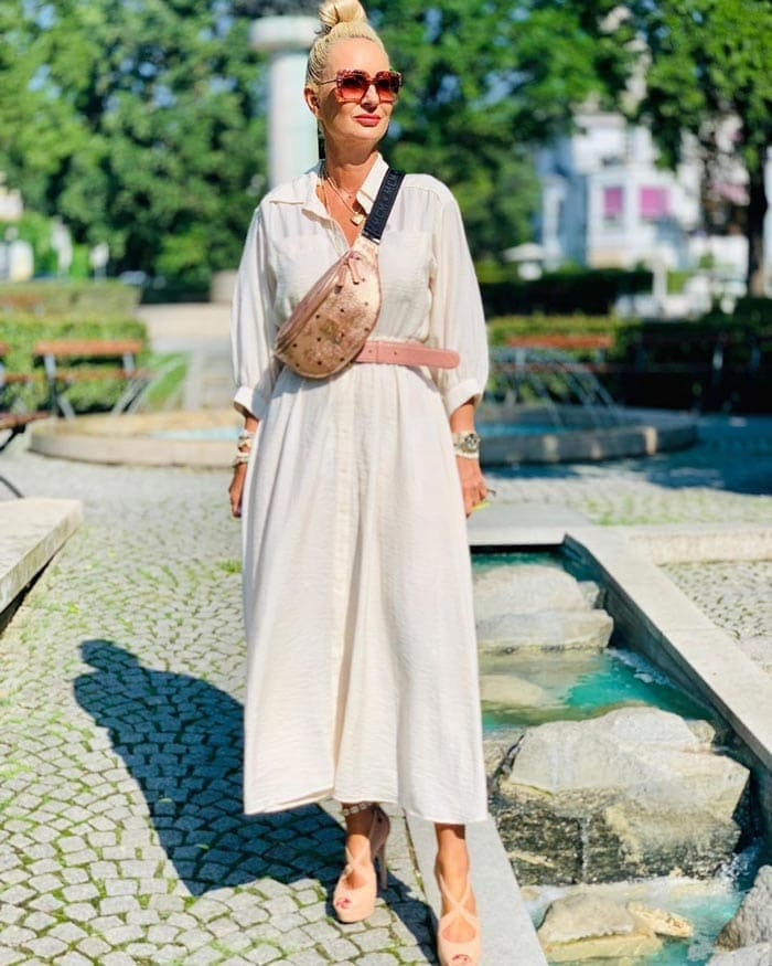 Clothes for tall women - Alice in a shirtdress | 40plusstyle.com