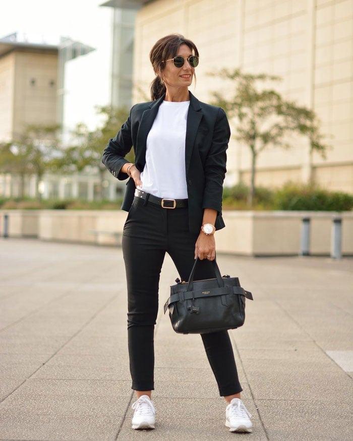 a monochrome outfit featuring a black blazer   40plusstyle.com