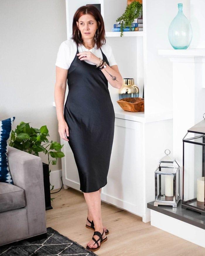 wearing a t-shirt under a slip dress | 40plusstyle.com