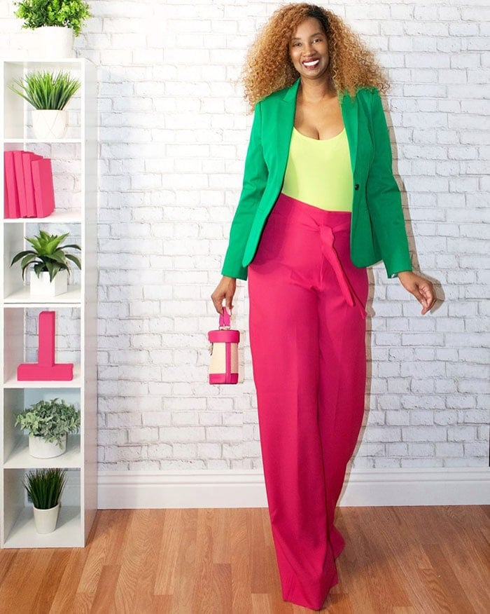 Green outfits - Tanasha wears green and pink   40plusstyle.com