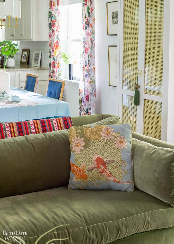 Koi fish pillow in eclectic room