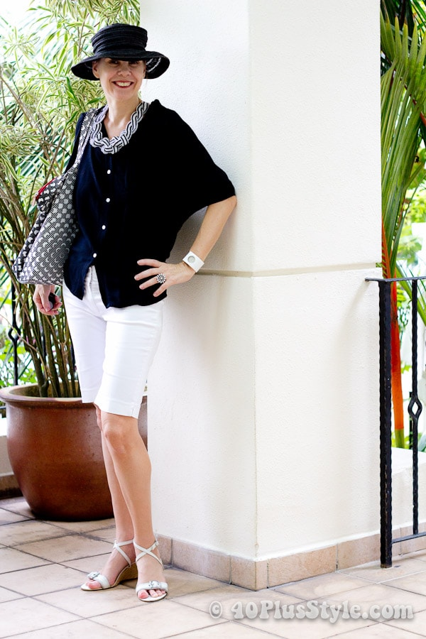 black and white holiday outfit   40plusstyle.com