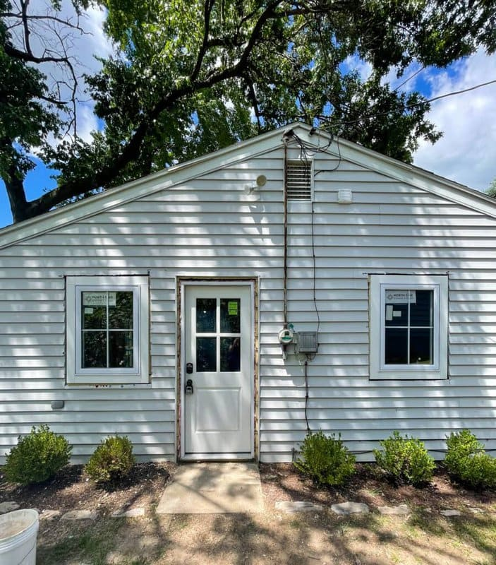 white cottage new windows