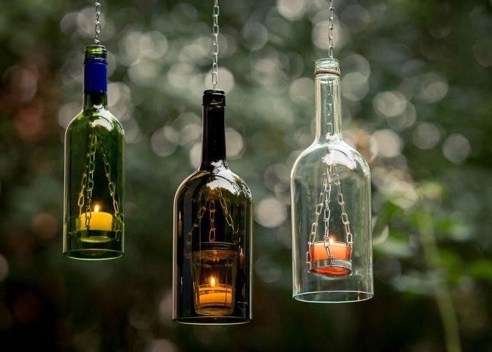 tolles Ambiente mit Teelichtlampe aus alten Flaschen