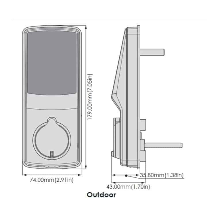 Lockly Secure Plus Dimensions