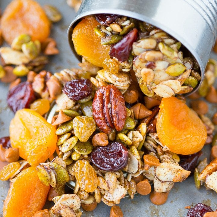 *My Maple Pumpkin Fall Harvest Trail Mix is salty, spicy, and sweet and is the perfect healthy homemade snack recipe for road trips or after school activities*