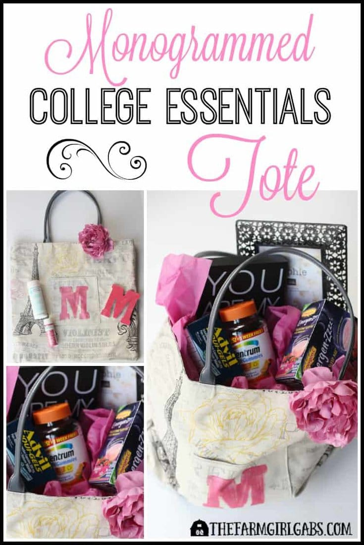 Have a college student or family member that could use a little love from home? This easy DIY Monogrammed College Essentials Tote is the perfect gift to send. All college love care packages. [Ad] #BeHealthyForEveryPartofLife #CollectiveBias
