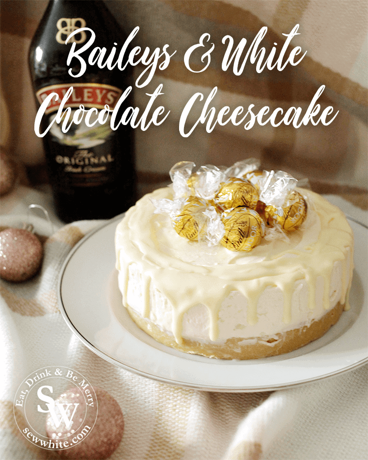 Golden lindt balls on the Baileys and white chocolate cheesecake