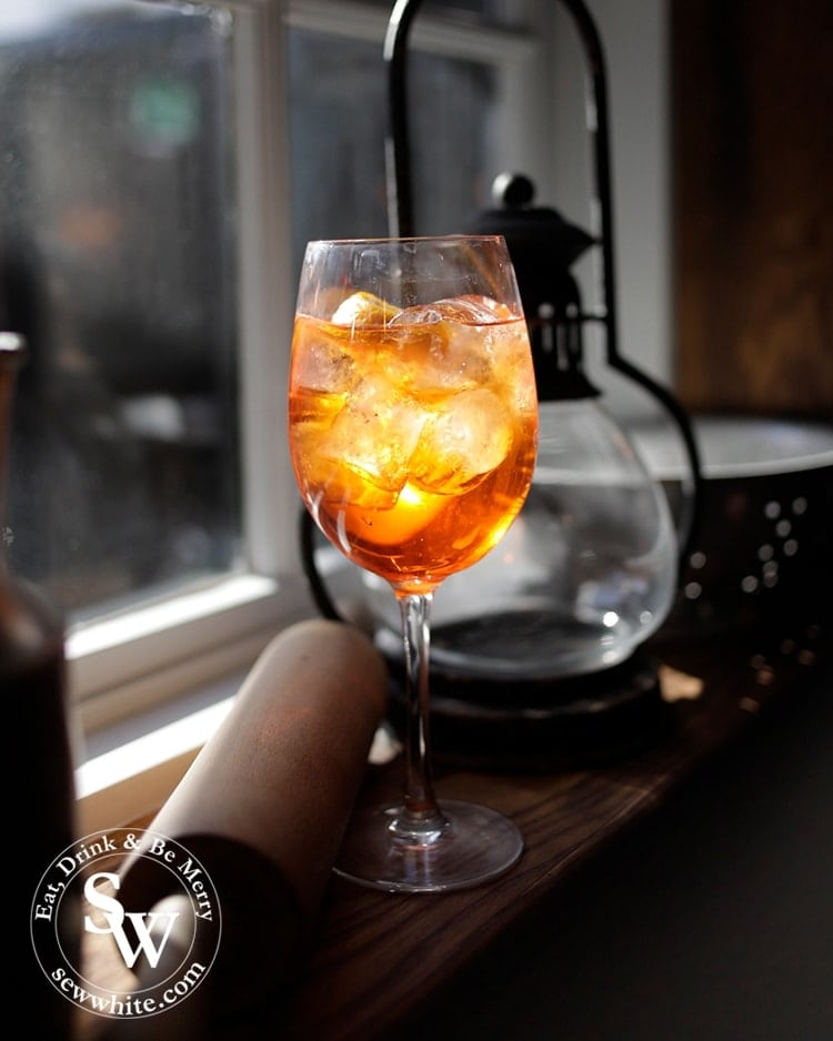 A beautiful Aperol Spritz glistening in the sunshine at The Hand in Hand