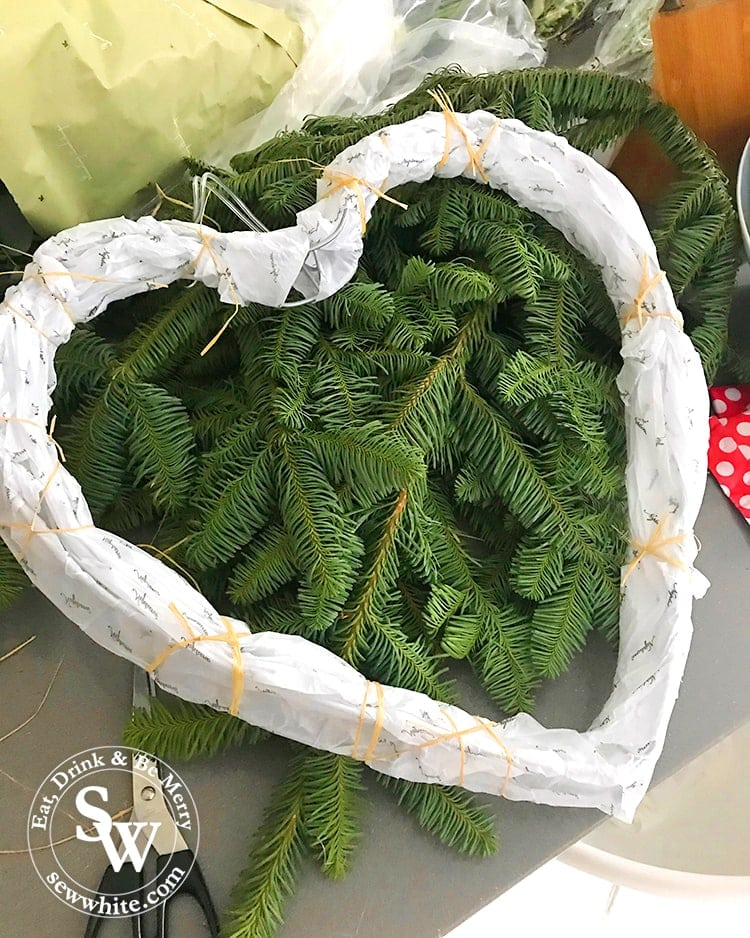 Heart shaped wreath ready to be made.