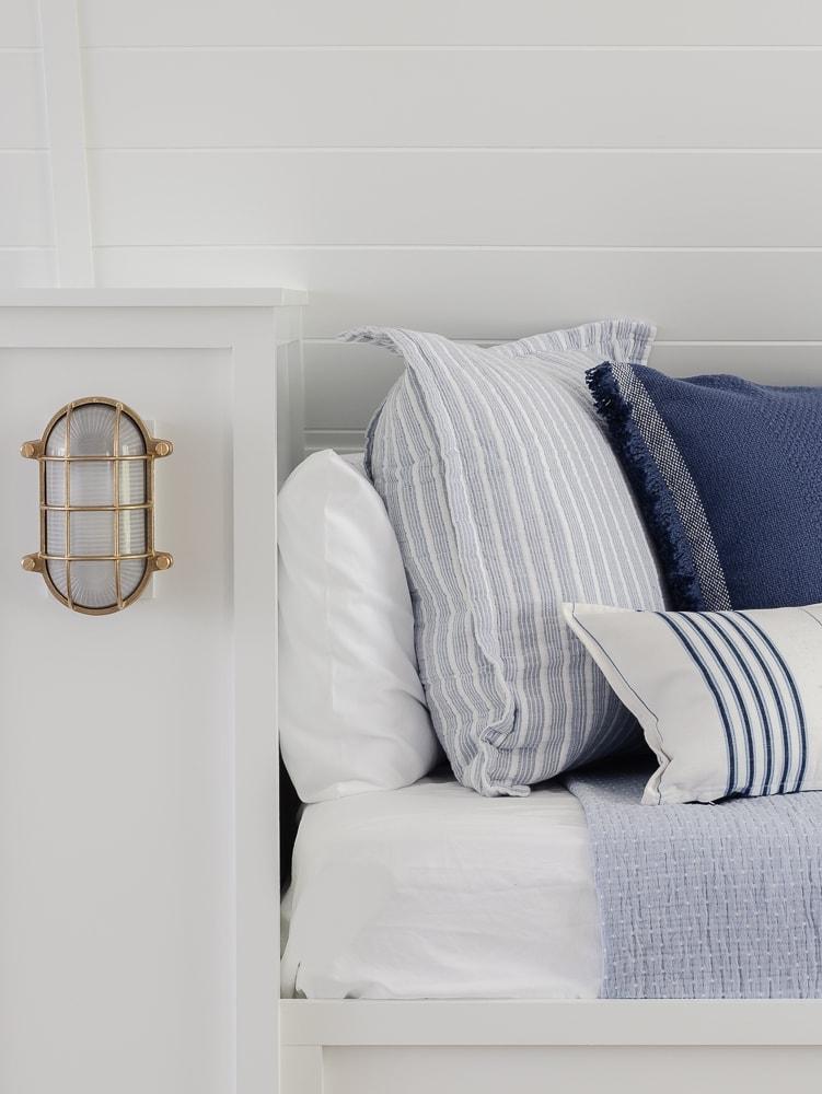 blue and white striped throw pillows