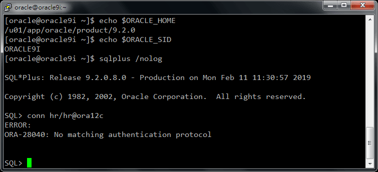 ORA-28040 SQL*Plus Connect from 9i to 12c