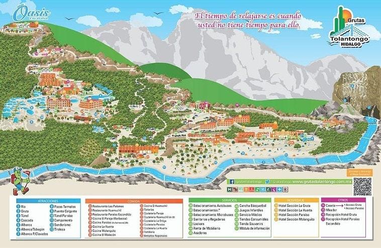 mapa de instalaciones - Visite Las Grutas Tolantongo