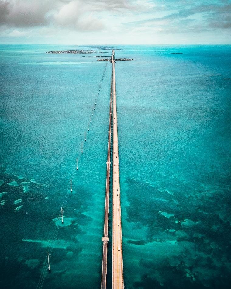 Aerial shot of the Seven Mile Bridge in Key West, Florida
