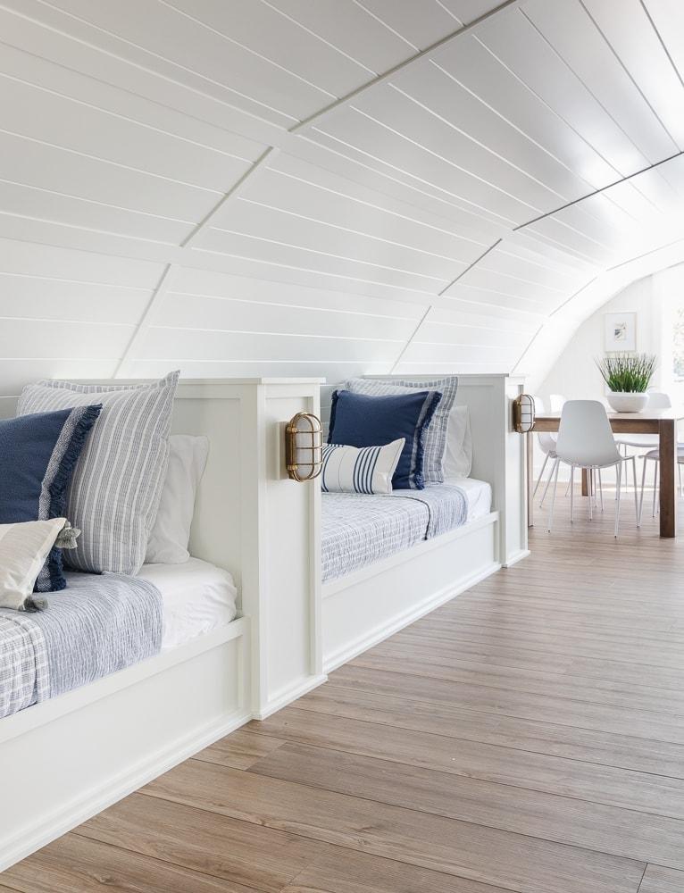 Lake house bunk room bedding
