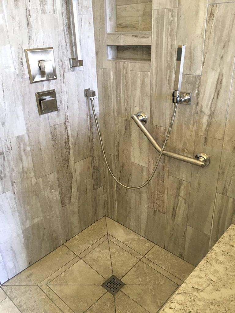 Curbless walk-in shower in remodel of bathroom in Lakewood