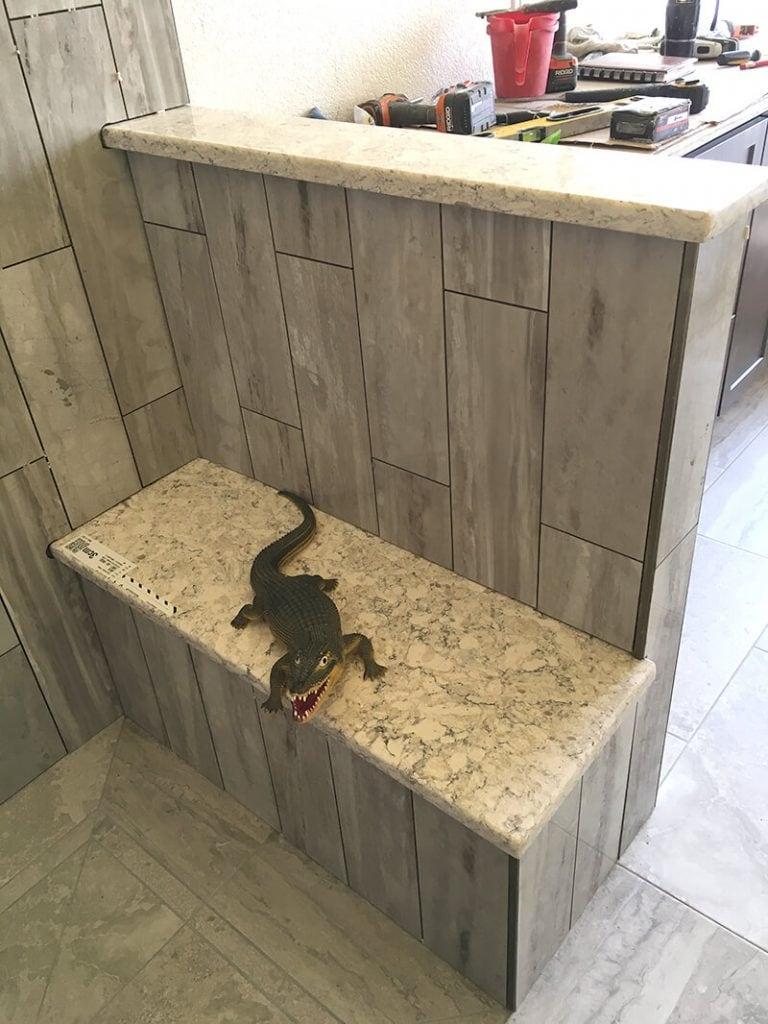 Shower bench in remodel of bathroom in Lakewood