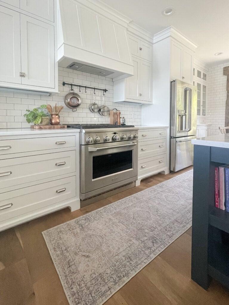 kitchen runner navy island white cabinets