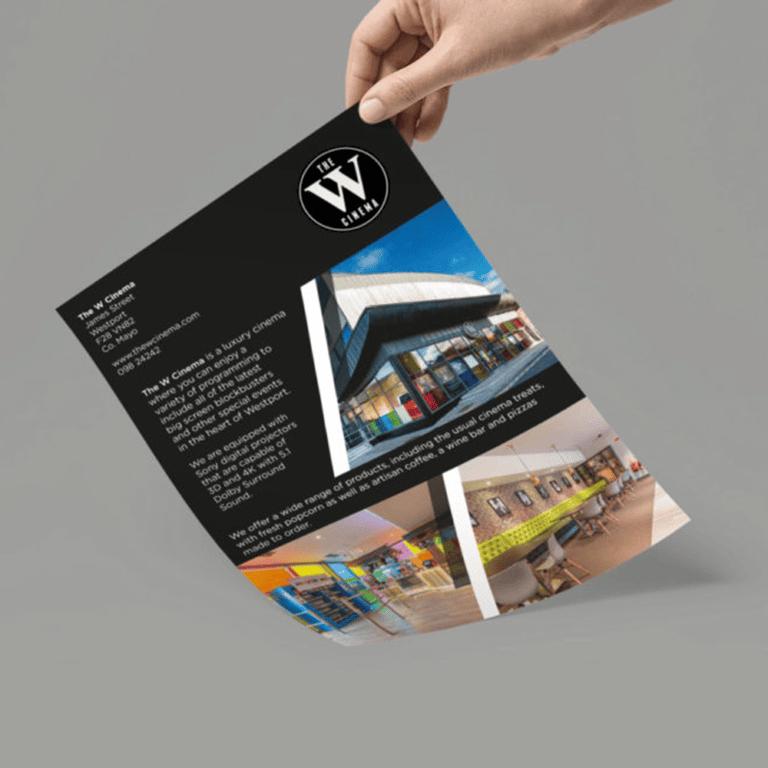 Leaflet Design W Cinema - Westport, County Mayo, Ireland Designwest