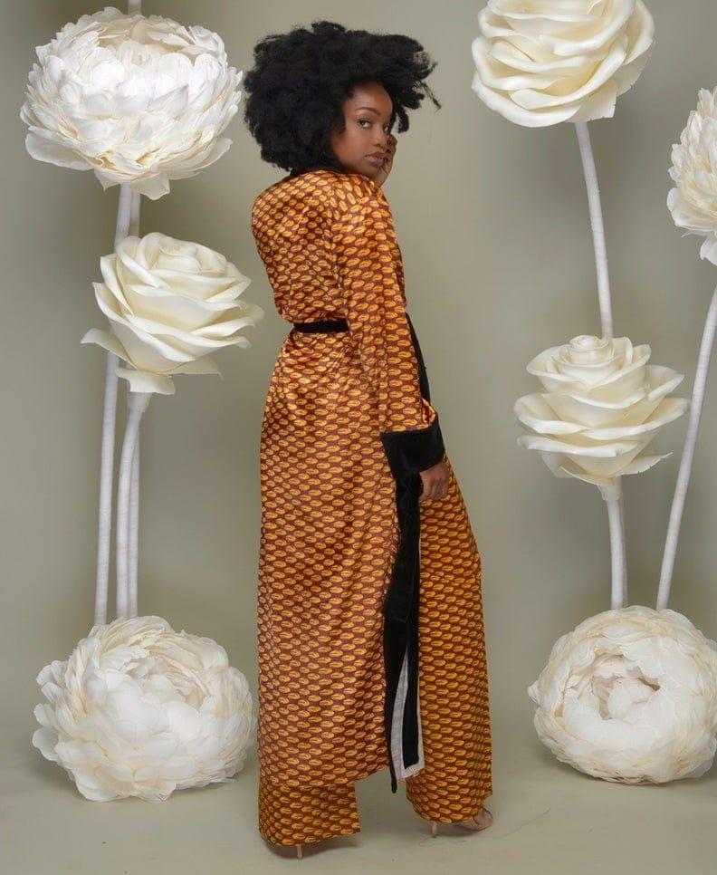 Aisha Ankara Print Velvet Kimono