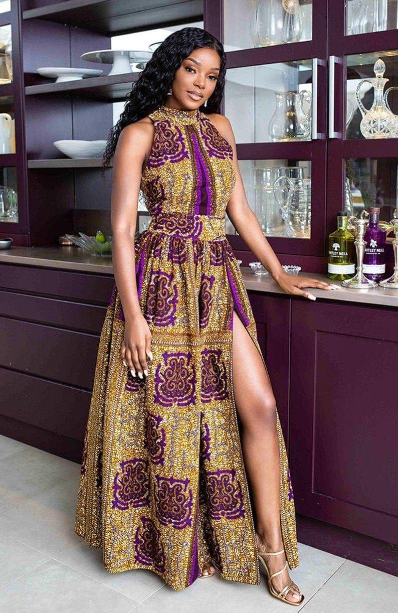 Amazing turtleneck long African style dress