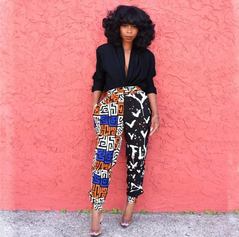 A chic stylish patchwork african pant