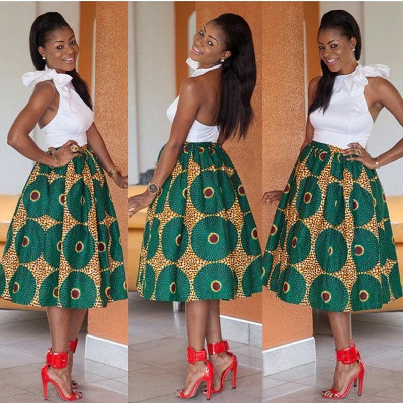 Green Pattern Flare Skirt 4