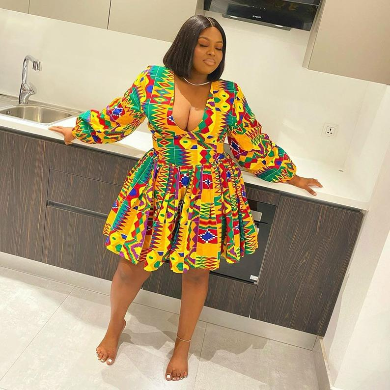 Look sexy in this sultry kente African dress