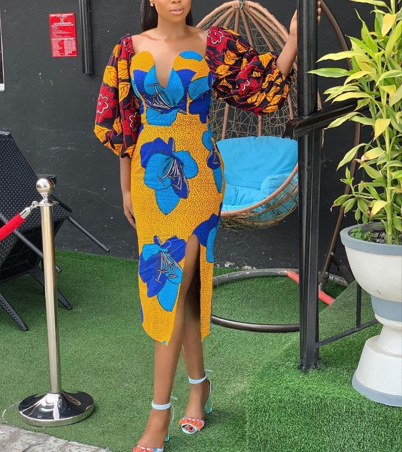 A sexy beautiful luxury African print dress