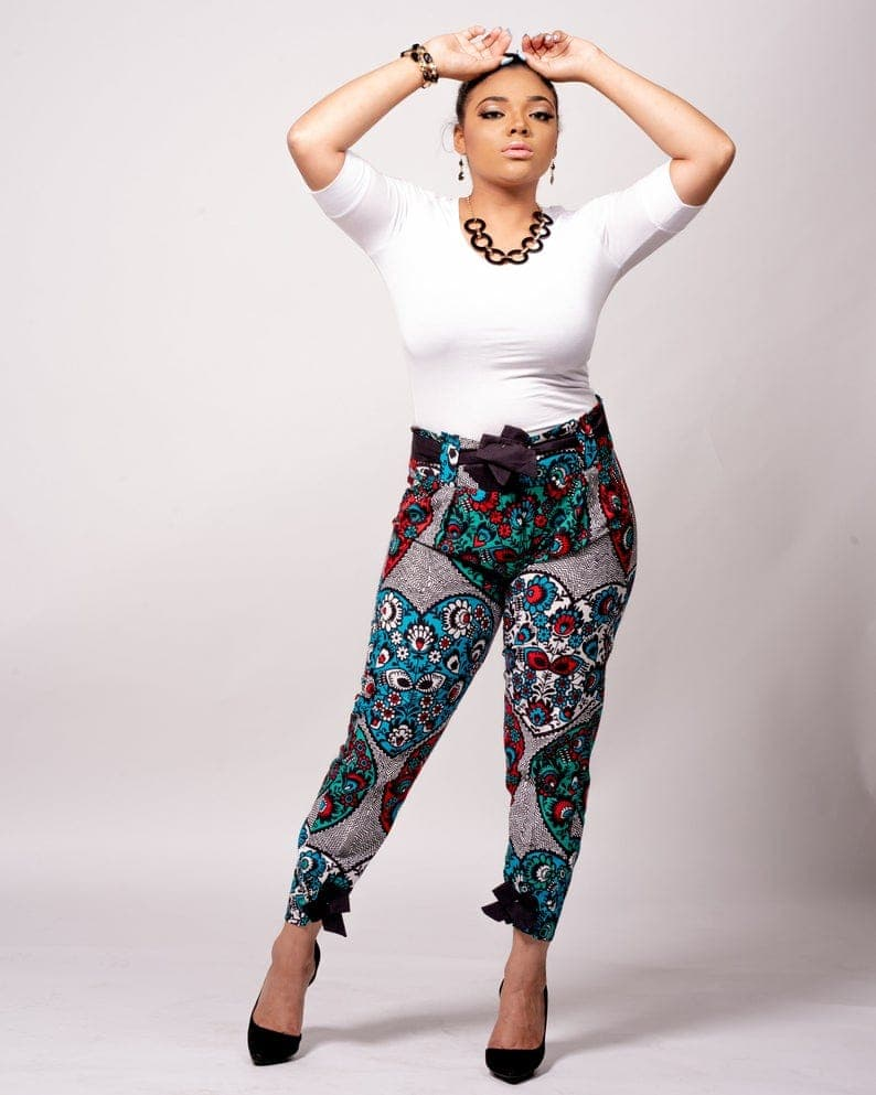 A unique bow tie knot Ankara pant to try