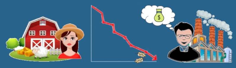 La caída del precio del trigo beneficia fabricante y perjudica a productor